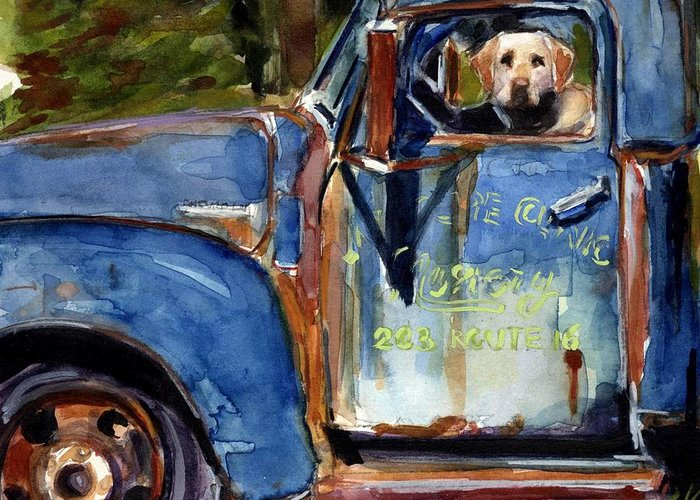 Dog Greeting Card featuring the painting Farmhand by Molly Poole