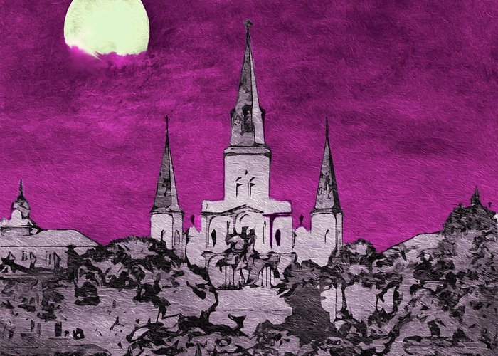 New Orleans Greeting Card featuring the photograph Fat Tuesday Eve by Kathy Bassett