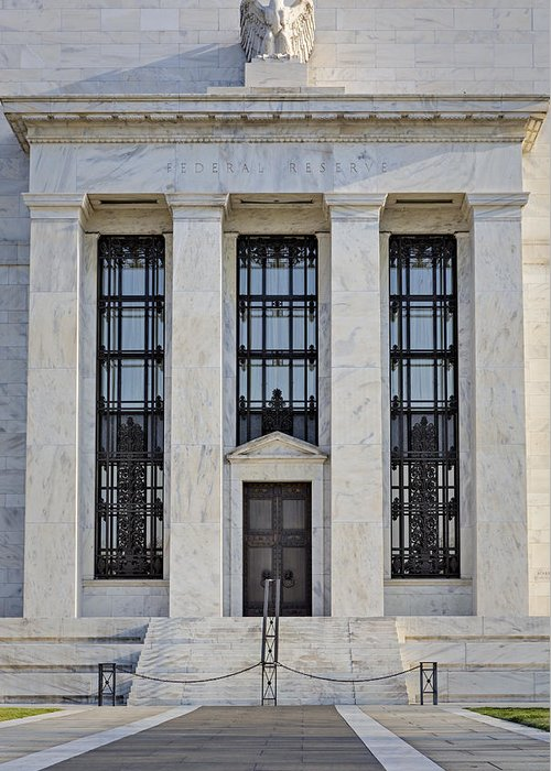 Federal Reserve Greeting Card featuring the photograph Federal Reserve by Susan Candelario