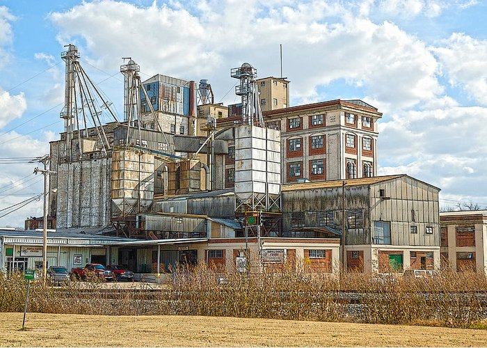 Feed+mill Greeting Card featuring the photograph Feed Mill Hdr by Charles Beeler