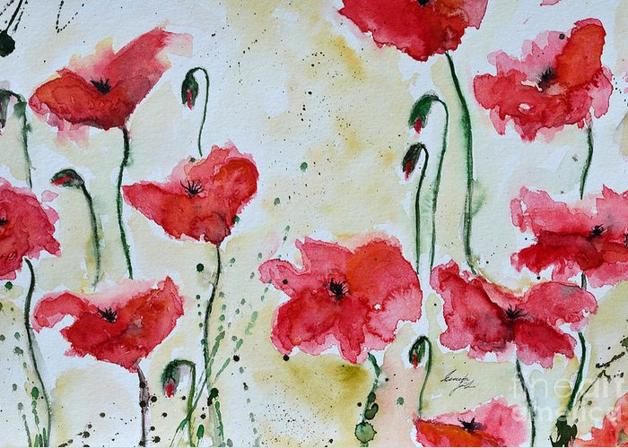 Abstract Greeting Card featuring the painting Feel The Summer 1 - Poppies by Ismeta Gruenwald