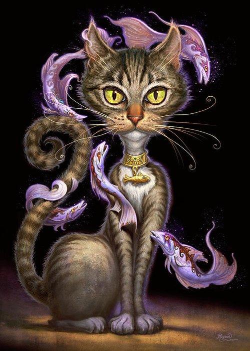 Jeff Haynie Greeting Card featuring the painting Feline Fantasy by Jeff Haynie