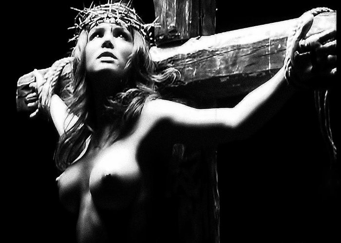Female Christ Greeting Card featuring the photograph Female Christ Black And White by Ramon Martinez