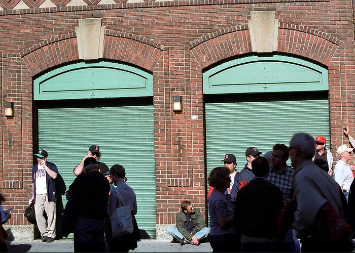 America Greeting Card featuring the photograph Fenway Park - Fans And Locked Gate by Frank Romeo
