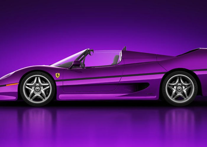 Transportation Greeting Card featuring the digital art Ferrari F50 - Neon by Marc Orphanos