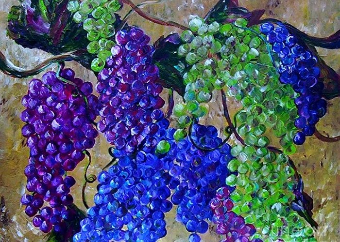 Grapes Greeting Card featuring the painting Festival Of Grapes by Eloise Schneider