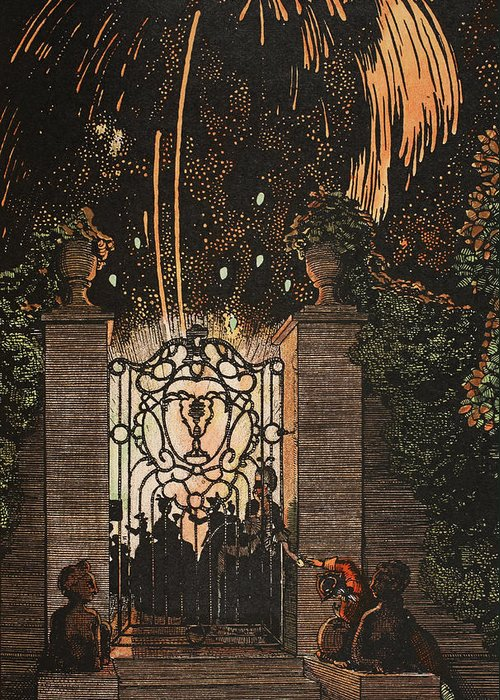 Somov Greeting Card featuring the painting Feu D Artifice by Konstantin Andreevic Somov