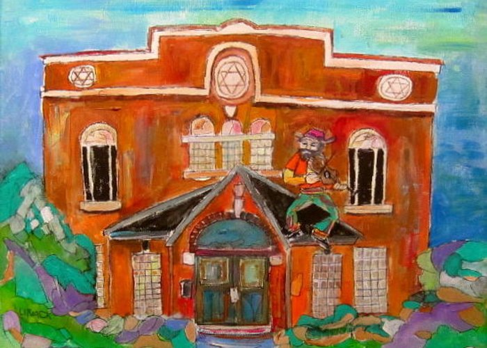 Synagogue In Lachine Greeting Card featuring the painting Fiddler In Lachine by Michael Litvack