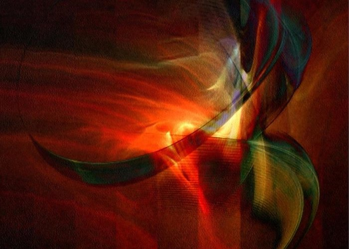 Abstract Greeting Card featuring the digital art Fiery Flight by Gun Legler