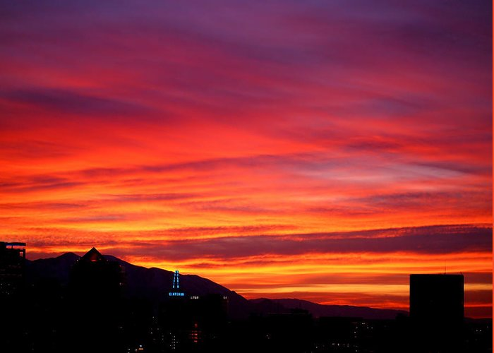Salt Lake City Greeting Card featuring the photograph Fiery Sunset by Rona Black