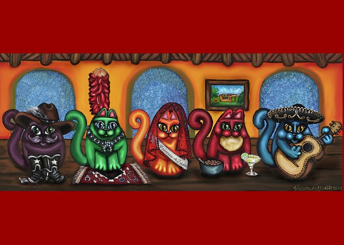 Folk Art Greeting Card featuring the painting Fiesta Cats Or Gatos De Santa Fe by Victoria De Almeida
