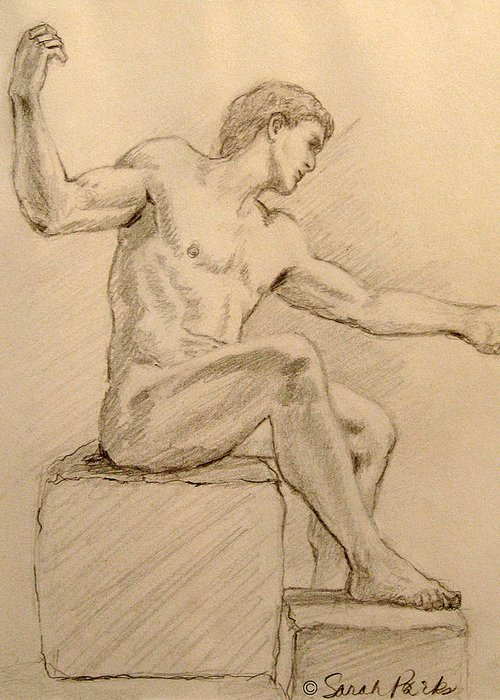 Figurative Greeting Card featuring the drawing Figure On A Rock by Sarah Parks