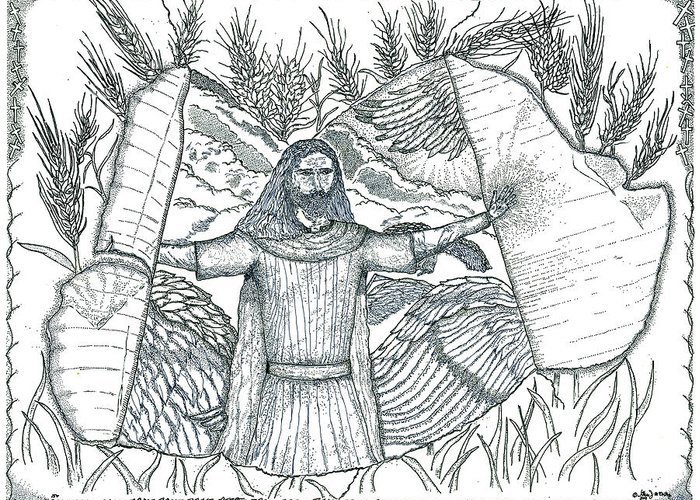 God Greeting Card featuring the drawing Final Harvest by Glenn McCarthy Art and Photography