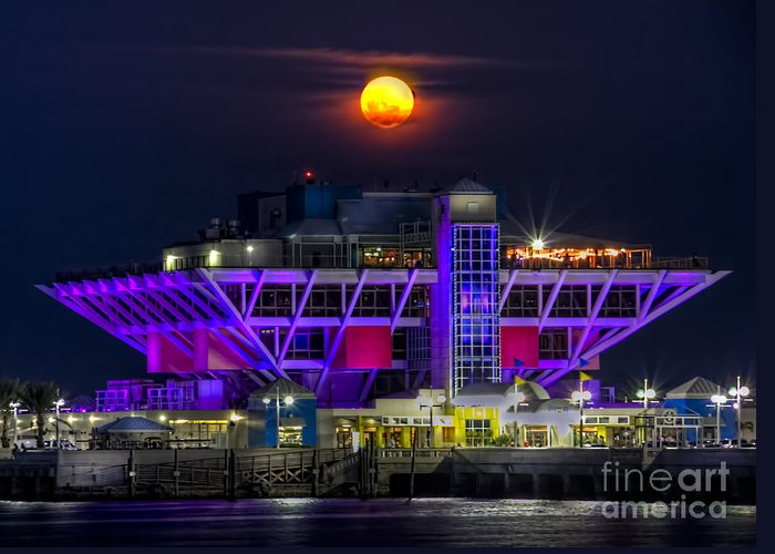 St. Pete Pier Greeting Card featuring the photograph Final Moon Over The Pier by Marvin Spates