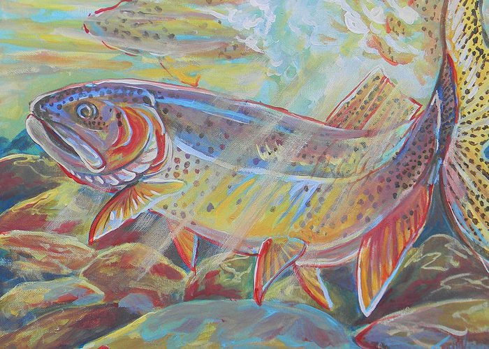 Fish Greeting Card featuring the painting Fine Spotted Cutthroat Trout by Jenn Cunningham