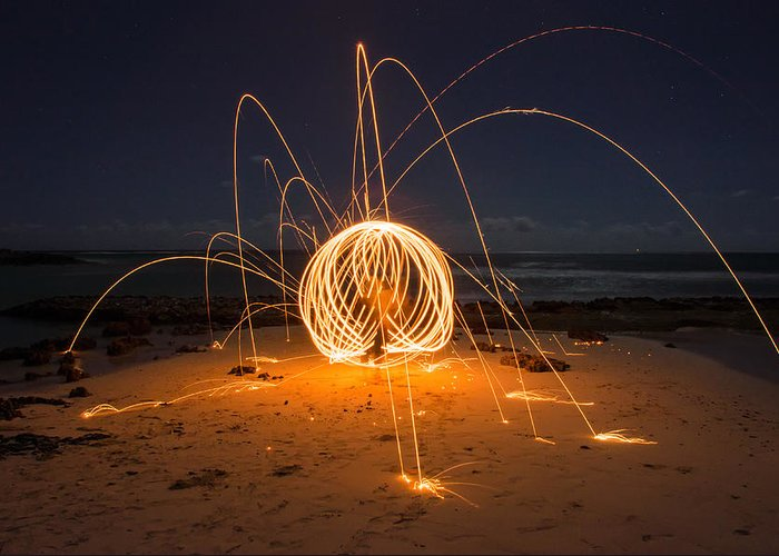 Photo Art Greeting Card featuring the photograph Fire Ball by Tin Lung Chao
