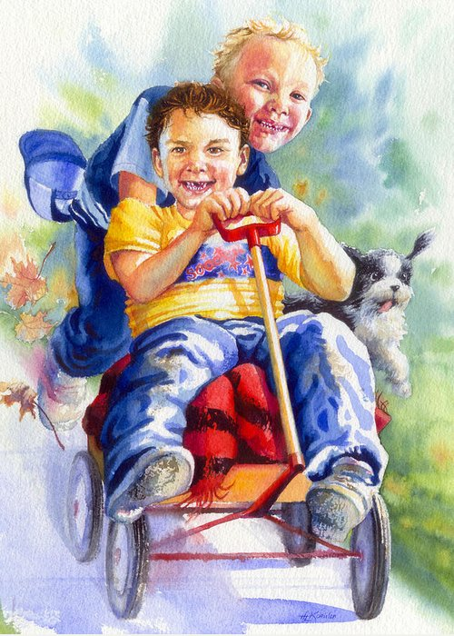 Children Greeting Card featuring the painting Fire Brigade by Hanne Lore Koehler