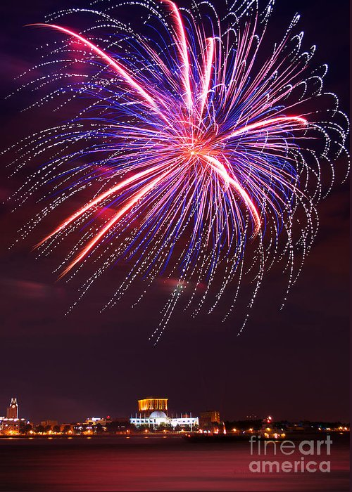 Fireworks Greeting Card featuring the photograph Fire Flower by Rima Biswas