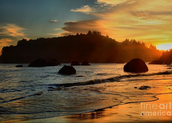 Trinidad State Beach Greeting Card featuring the photograph Fire Over Trinidad Beach by Adam Jewell