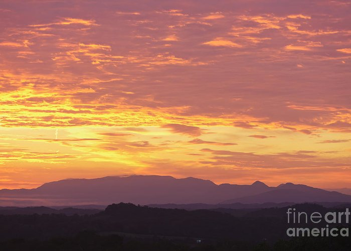 Smoky Mountains Greeting Card featuring the photograph Fire Sunset Over Smoky Mountains by Kay Pickens