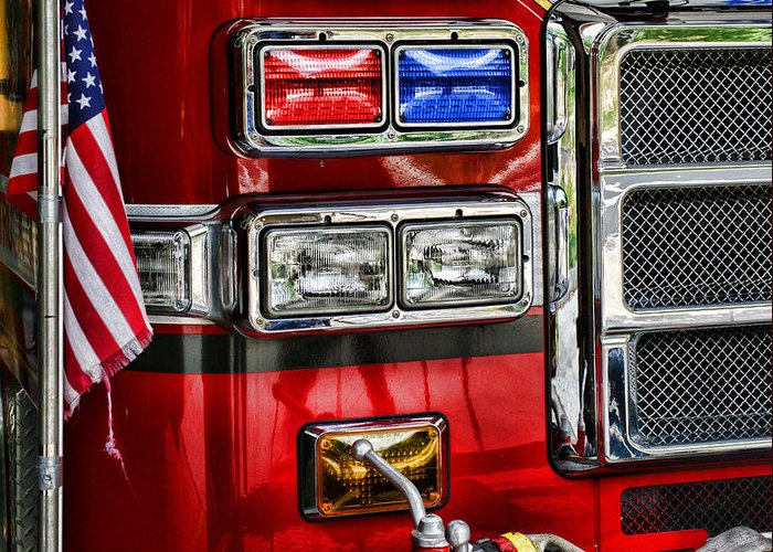 Fireman Greeting Card featuring the photograph Fireman - Fire Engine by Paul Ward
