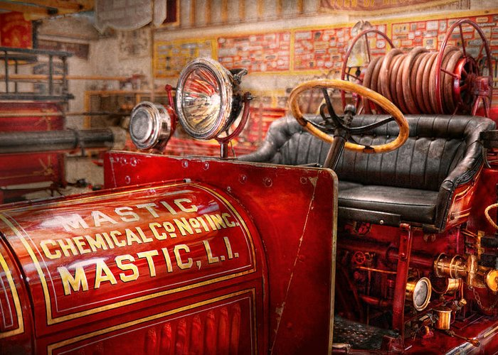 Fireman Greeting Card featuring the photograph Fireman - Mastic Chemical Co by Mike Savad