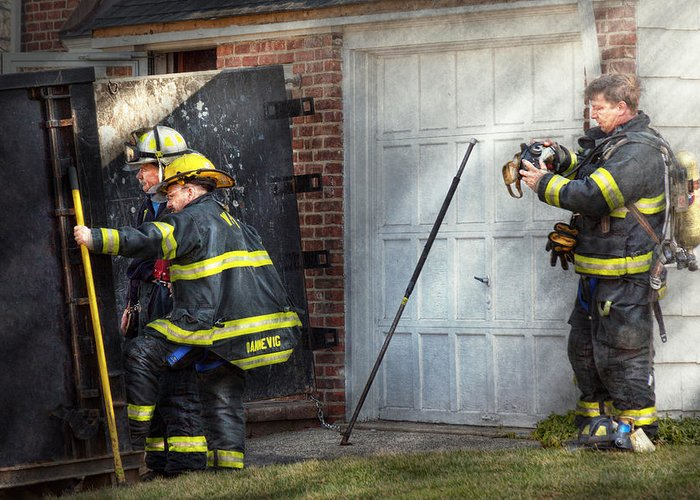 Savad Greeting Card featuring the photograph Fireman - Take All Fires Seriously by Mike Savad