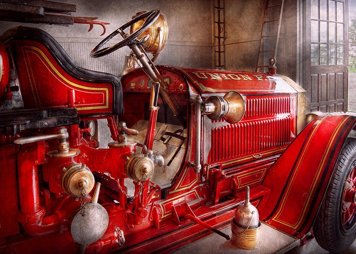 Fireman Greeting Card featuring the photograph Fireman - Truck - Waiting For A Call by Mike Savad