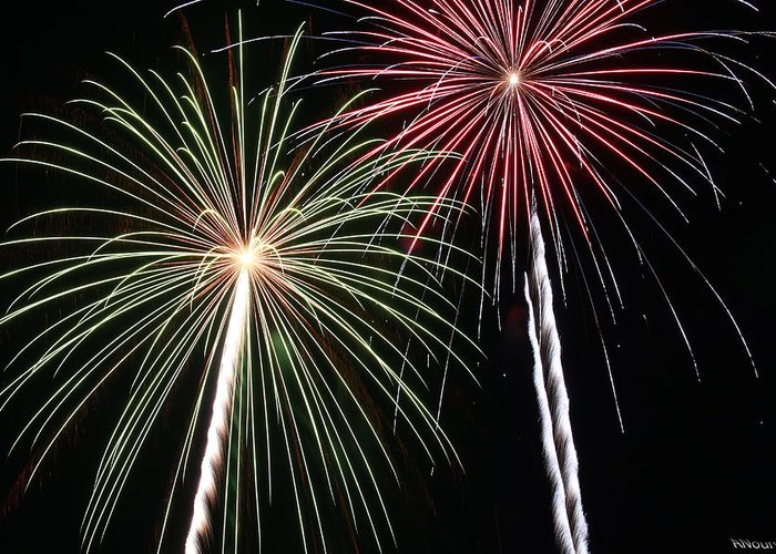Fireworks Greeting Card featuring the photograph Fireworks 5 by Andrew Nourse