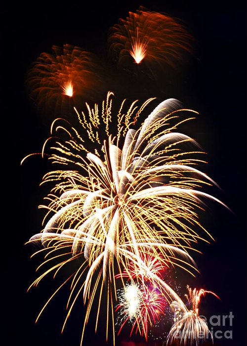 Firework Greeting Card featuring the photograph Fireworks by Elena Elisseeva