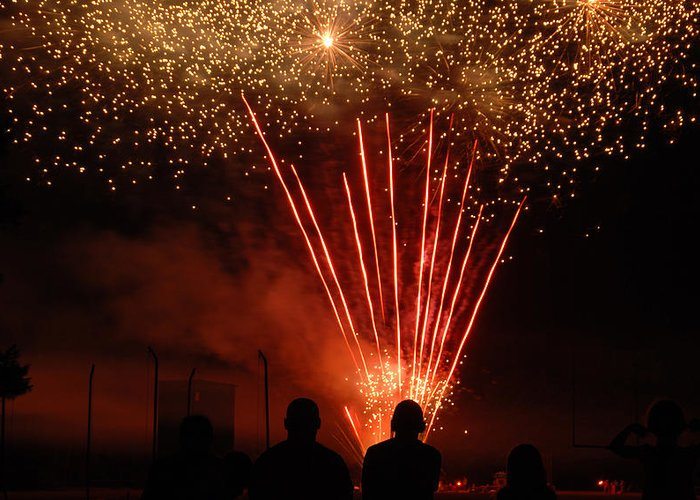 4th Greeting Card featuring the photograph Fireworks by Vonnie Murfin