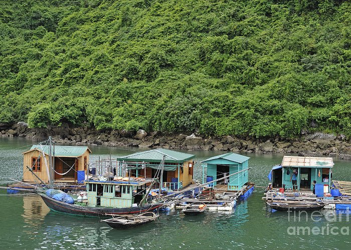 Floating Greeting Card featuring the photograph Fisherman Floatting Houses by Sami Sarkis