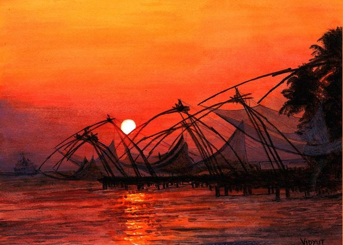 Sunset Greeting Card featuring the painting Fisherman Sunset In Kerala-india by Vidyut Singhal