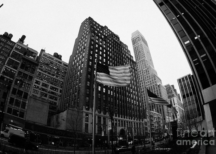 Usa Greeting Card featuring the photograph Fisheye View Of 34th Street From 1 Penn Plaza New York City by Joe Fox