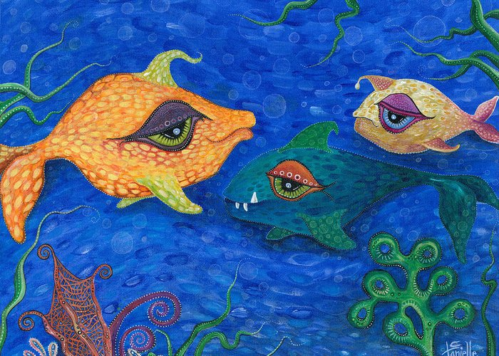Fish Greeting Card featuring the painting Fishin' For Smiles by Tanielle Childers
