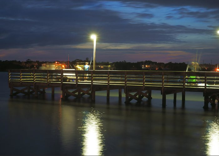 Fishing Pier Greeting Card featuring the photograph Fishing At Soundside Park In Surf City by Mike McGlothlen