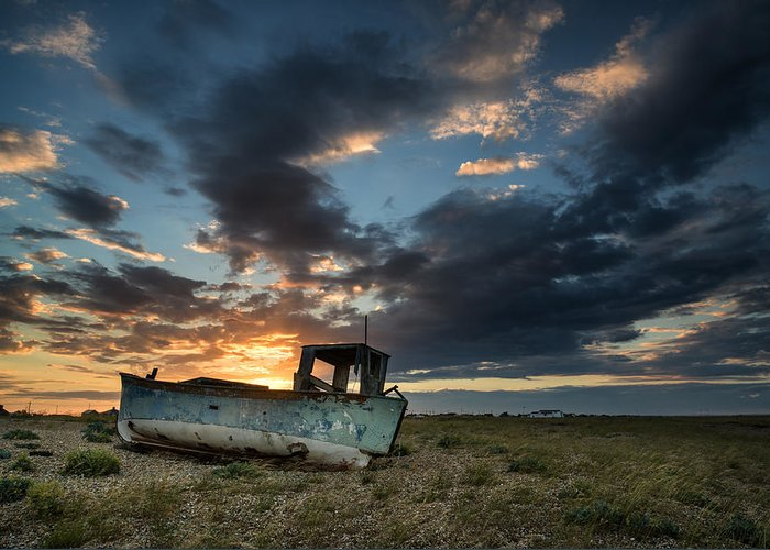 Long Exposure Greeting Card featuring the photograph Fishing Boat Sunset by Matthew Gibson