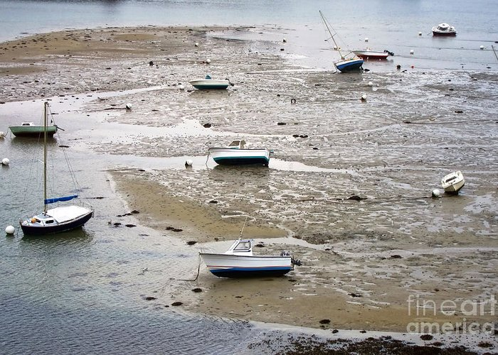 France Greeting Card featuring the photograph Fishing Boats At Low Tide by Olivier Le Queinec