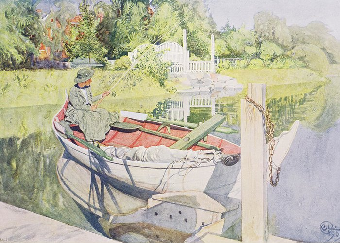 Sunshine Greeting Card featuring the painting Fishing by Carl Larsson