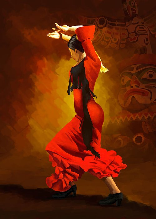 Jazz Greeting Card featuring the painting Flamenco Dancer 0013 by Catf