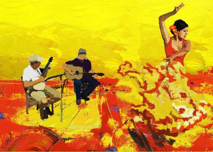 Jazz Greeting Card featuring the painting Flamenco Dancer 018 by Catf