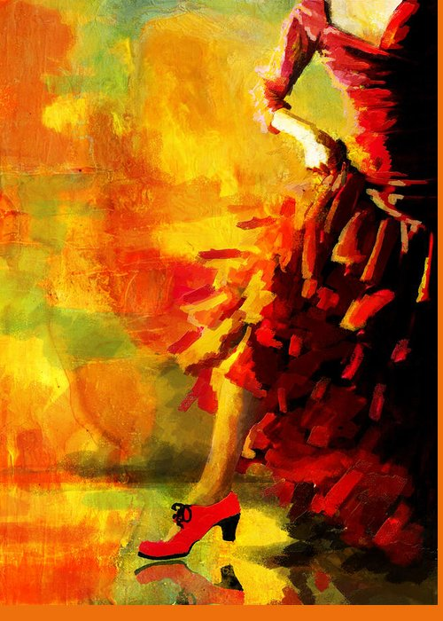 Jazz Greeting Card featuring the painting Flamenco Dancer 026 by Catf