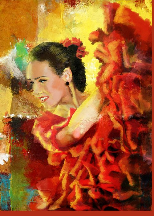 Jazz Greeting Card featuring the painting Flamenco Dancer 027 by Catf