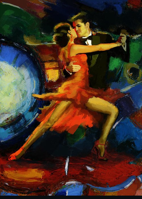 Jazz Greeting Card featuring the painting Flamenco Dancer 029 by Catf