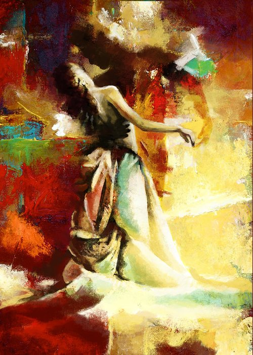 Jazz Greeting Card featuring the painting Flamenco Dancer 032 by Catf