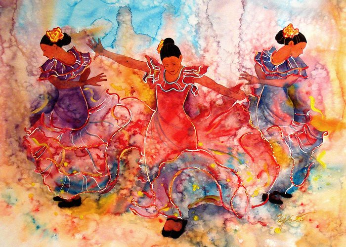 Flamenco Greeting Card featuring the painting Flamenco by John YATO
