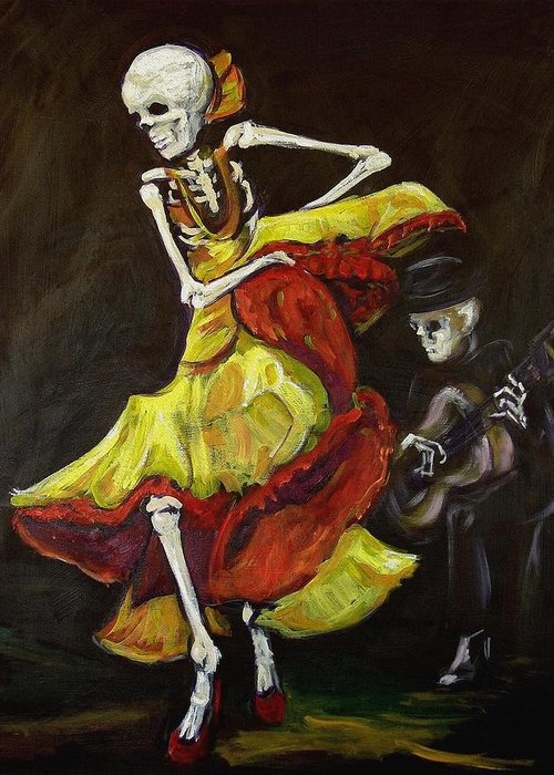Muertos Greeting Card featuring the painting Flamenco Vi by Sharon Sieben