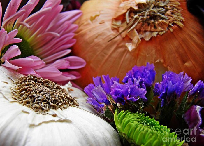 Flavored With Onion And Garlic Greeting Card featuring the photograph Flavored With Onion And Garlic by Sarah Loft