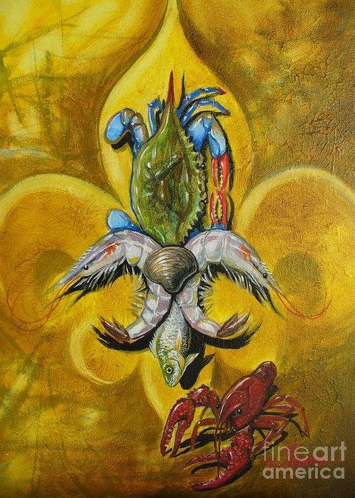 Fleur De Lis Greeting Card featuring the painting Fleur De Lis by Theon Guillory