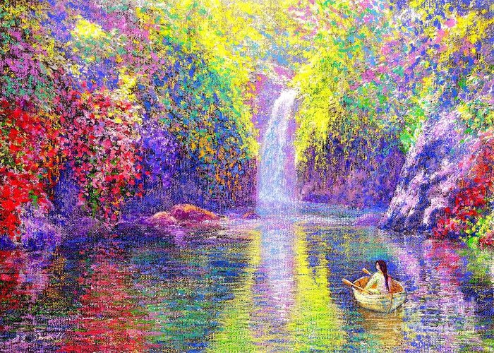 Waterfall Greeting Card featuring the painting Floating by Jane Small